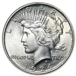 1924 $1 Peace Silver Dollar Coin