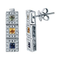 18KT White Gold 0.65ctw Multi Color Sapphire and Diamond Earrings