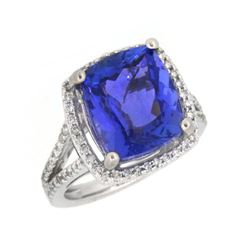 14KT White Gold 7.31ct Tanzanite and Diamond Ring