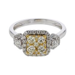 14KT Two Tone Gold 0.87ctw Diamond Ring