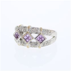 14KT White Gold 0.36ctw Pink Sapphire and Diamond Ring