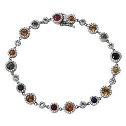 14KT White Gold 3.84ctw Multi Color Sapphire and Diamond Bracelet