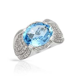 14KT White Gold 5.94ct Blue Topaz and Diamond Ring