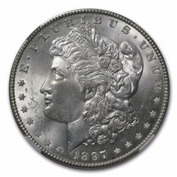 1897 $1 Morgan Silver Dollar Coin NGC MS64