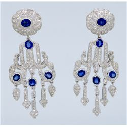18KT White Gold Blue Sapphire and Diamond Earrings