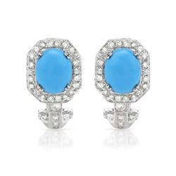 14KT White Gold 3.78ctw Turquoise and Diamond Earrings