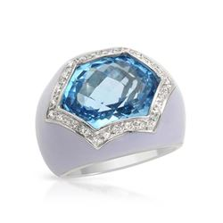 14KT White Gold 10.86ct Blue Topaz and Diamond Ring
