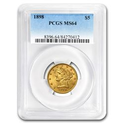 1898 $5 Liberty Head Half Eagle Gold Coin PCGS MS64