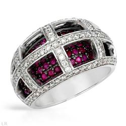14KT White Gold 1.25ctw Ruby and Diamond Ring
