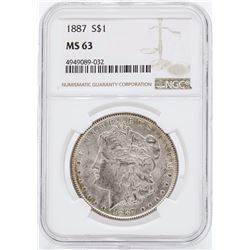 1887 $1 Morgan Silver Dollar Coin NGC MS63 Rev Toning