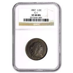 1807 Liberty Half Cent Coin NGC XF40