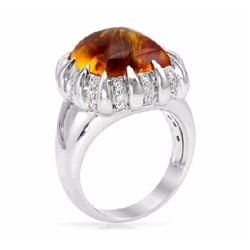 14KT White Gold 8.65ct Citrine and Diamond Ring