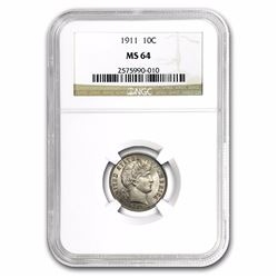 1911 Barber Dime Coin NGC MS64
