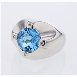 14KT White Gold 5.71ct Blue Topaz and Diamond Ring