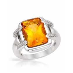 14KT White Gold 6.81ct Citrine and Diamond Ring