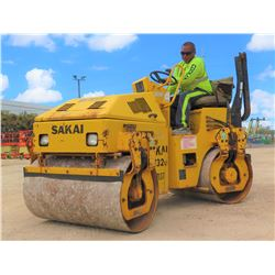 "2006 SAKAI MODEL SW320 39"" DOUBLE DRUM RIDE-ON DIESEL ROLLER, 1912 HOURS"