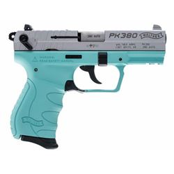 "Walther Arms 5050325 PK380 Single/Double 380 Automatic Colt Pistol (ACP) 3.6"" 8+1 Angel Blue Polymer"