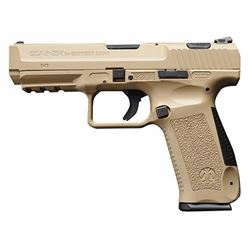 "Century HG3277DN TP9SA Double 9mm 4.5"" 18+1 3-Dot Black Interchangeable Backstrap Desert Tan Polymer"