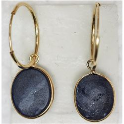 14KT YELLOW GOLD SAPPHIRE HOOP EARRINGS