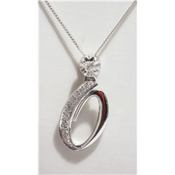 10KT WHITE GOLD DIAMOND ''0'' PENDANT