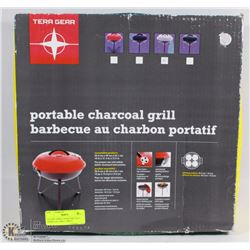 55) NEW TERRA GEAR PORTABLE CHARCOAL GRILL (GREY)