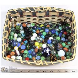 BASKET OF VINTAGE MARBLES