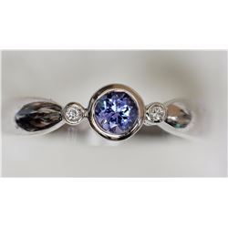 10KT WHITE GOLD TANZANITE & DIAMOND RING