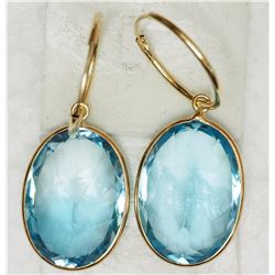 14KT YELLOW GOLD BLUE TOPAZ HOOP EARRINGS