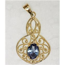 14KT YELLOW GOLD SAPPHIRE PENDANT