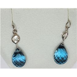 14KT WHITE GOLD TOPAZ & SAPPHIRE EARRINGS