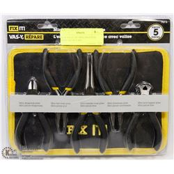 NEW FIX-IT 5PC MINI GROOVED PLIER SET W/ CASE