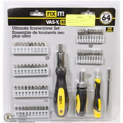 NEW FIX-IT 64PC ULTIMATE SCREWDRIVER SET