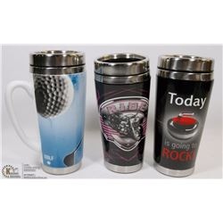3 NEW CERAMIC AND STEEL TRAVEL MUGS