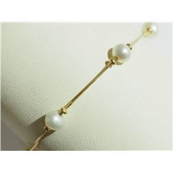 10KT YELLOW GOLD FRESHWATER PEARL BRACELET