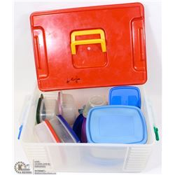 PICNIC BOX FILLED WITH STORAGE CONTAINERS