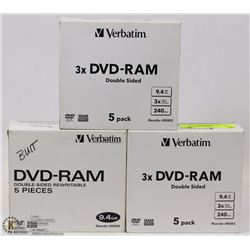 3 CASES OF 5 VERBATIM CD/DVD RAM DOUBLE SIDED DISC