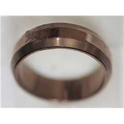 BROWN STAINLESS STEEL MEN'S RING