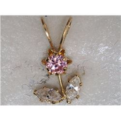 14KT YELLOW GOLD CUBIC ZIRCONIA PENDANT