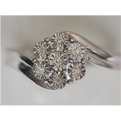 STERLING SILVER RING WITH  7 DIAMONDS