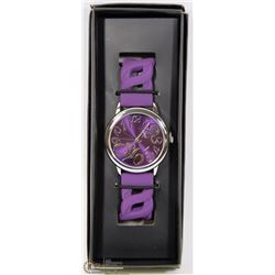 NEW BRIGHT PASTEL LINKED SILICONE WATCH (PURPLE)