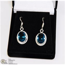 #31-LONDON  BLUE TOPAZ GEMSTONE EARRINGS