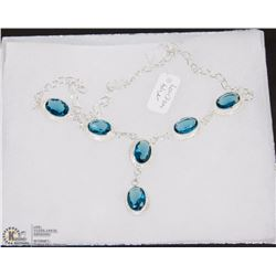 #30-LONDON  BLUE TOPAZ GEMSTONE NECKLACE