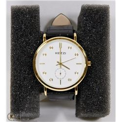 KEZZI WATCH WHITE FACE AND BLACK STRAP