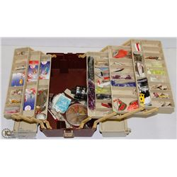 PLAMO FISHING BOX FULL OF LURES & REELS