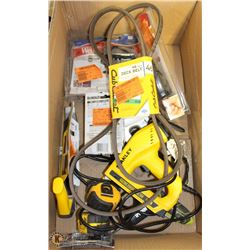 BOX WITH ASSORTED HAND TOOLS, STAPLERS
