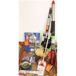 FLAT OF PAINTERS TOOLS, TAPE, ROLLERS, SPRAY GUN