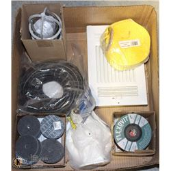 FLAT OF MISC INCL MASONRY WHEELS, YELLOW STRAPS,