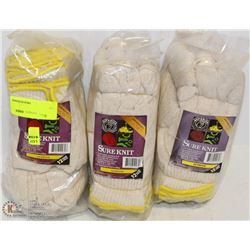 3 BUNDLES OF 12 PAIRS SURE KNIT GLOVES, MEDIUM