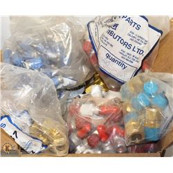 BOX OF ASSORTED SWAGELOK BRASS FITTINGS AND MORE