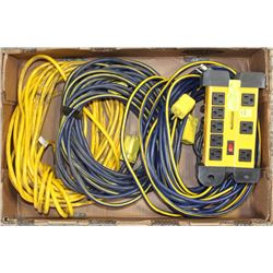 FLAT OF 3 HEAVY DUTY EXTENSION CORDS